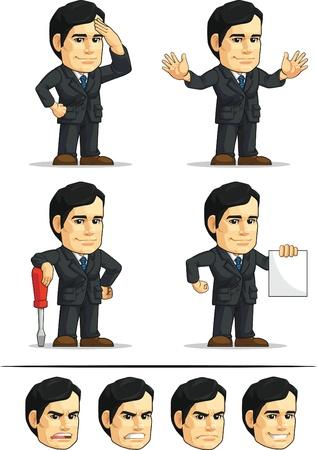 gente saludando: Hombre de negocios o Oficina Ejecutiva Mascot Personalizable 9
