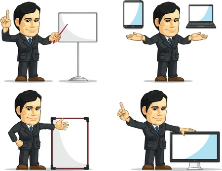 Businessman or Office Executive Customizable Mascot 12 Vector