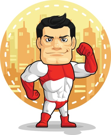 Cartoon of Superhero Vector