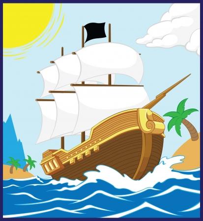 flying boat: Barco pirata en el marco de la Plaza Shore
