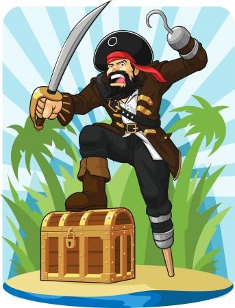 Pirate avec son coffre au trésor Banque d'images - 20851871