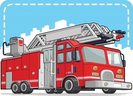 fire engine: Camion Rosso Fuoco o Fire Engine Vettoriali