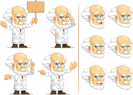 Scientist or Professor Customizable Mascot 8 Illustration