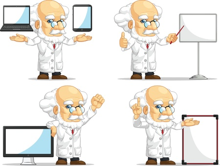 Scientist or Professor Customizable Mascot 14 Vector