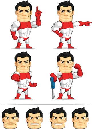 Superhero Customizable Mascot 5 Vector
