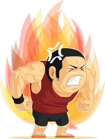 Cartoon van de boze mens
