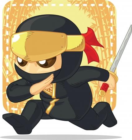 Cartoon of Ninja Holding Japanese Sword