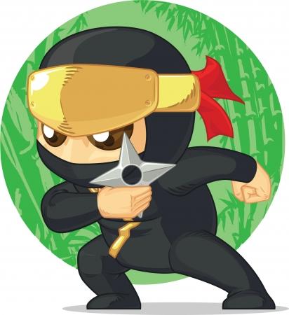 japanese ninja: Cartoon of Ninja Holding Shuriken
