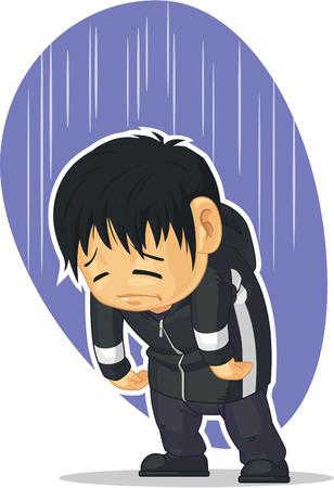 lost child: Cartoon of Sad Boy