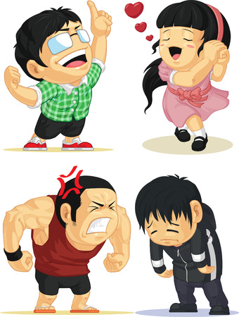 cute cartoon boy: Emotion Set - Eureka, Love, Angry, Sad