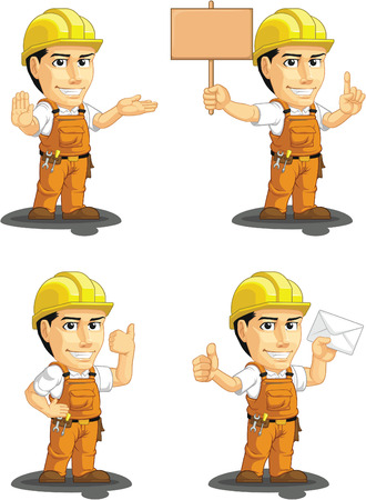 Industrial Construction Worker Customizable Mascot 4