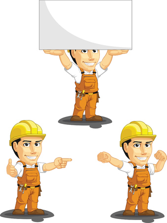 factory workers: Industrial Construction Worker Customizable Mascot 8