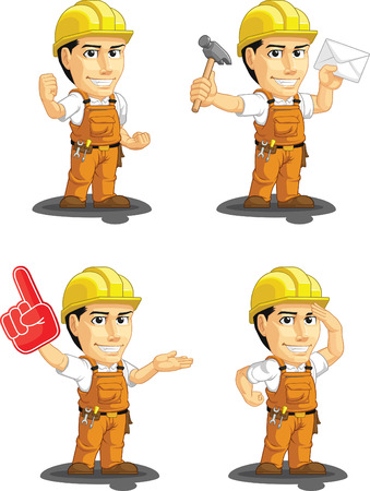 foreman: Industrial Construction Worker Customizable Mascot 9 Illustration