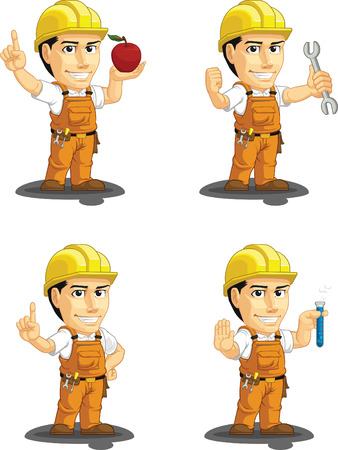 factory workers: Industrial Construction Worker Customizable Mascot 10
