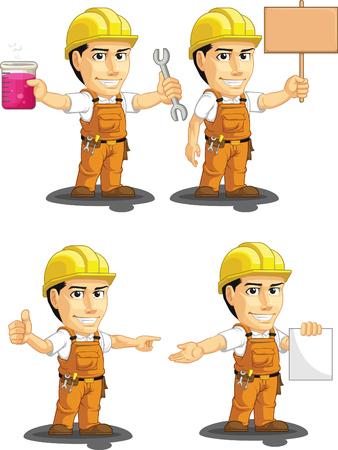 Industrial Construction Worker mascotte personnalisable 12 Vecteurs