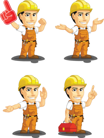 construction worker cartoon: Industrial Construction Worker Customizable Mascot 14