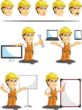 Industrial Construction Worker Customizable Mascot 16 Vector