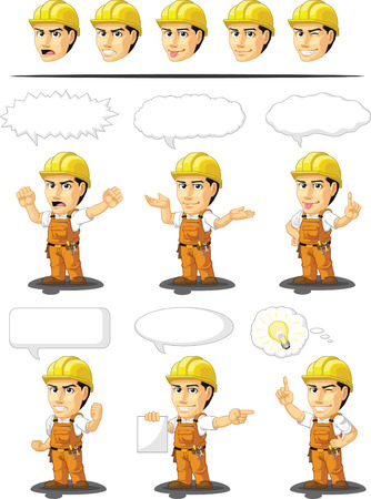 Industrial Construction Worker Customizable Mascot 17 Vector