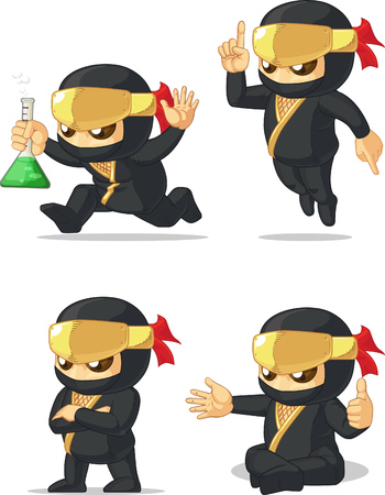 Ninja Customizable Mascot 12 Vector