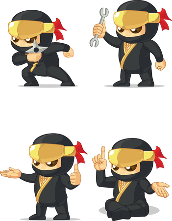 Ninja Customizable Mascot 14 Vector