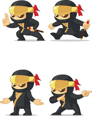 customizable: Ninja Customizable Mascot 15 Illustration