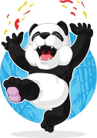 excitement: Panda Jumping in Excitement