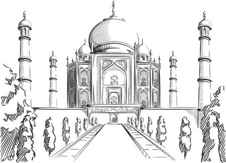 agra: Sketch of India Landmark - Taj Mahal