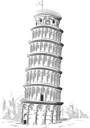 Sketch of Italy Landmark - Tower of Pisa Vectores