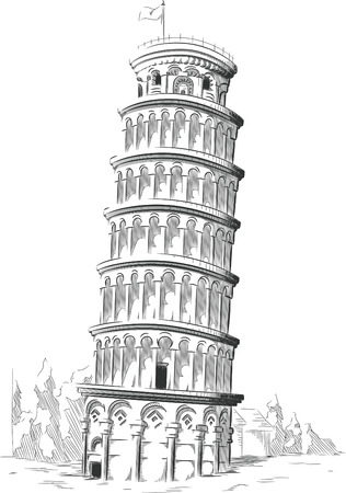 Sketch of Italy Landmark - Tower of Pisa Illustration