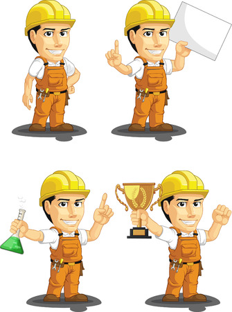 building contractor cartoon: Industrial Construction Worker Customizable Mascot 5 Illustration