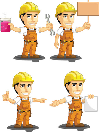 Industrial Construction Worker Customizable Mascot 12 Vector