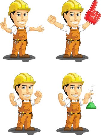 construction worker cartoon: Industrial Construction Worker Customizable Mascot 13