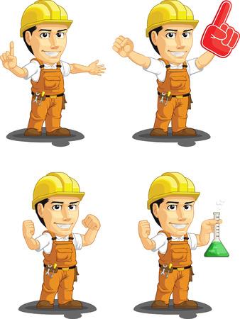 worker cartoon: Industrial Construction Worker Customizable Mascot 13