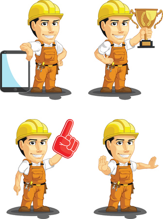 factory workers: Industrial Construction Worker Customizable Mascot 15 Illustration