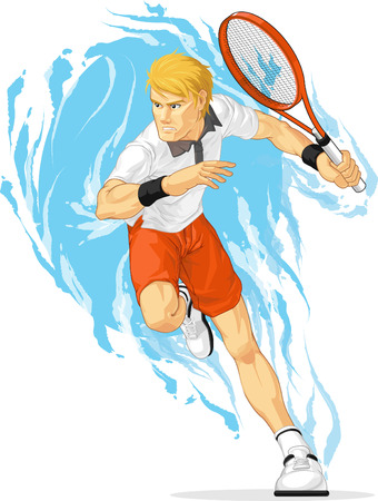 male tennis players: Tennis Player Holding Racket