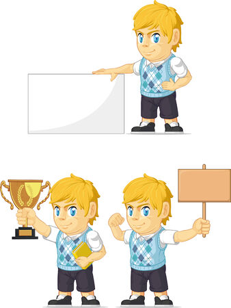 Blonde Rich Boy Customizable Mascot 4 Vector