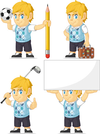 teen golf: Blonde Rich Boy Personalizable Mascot 5 Vectores