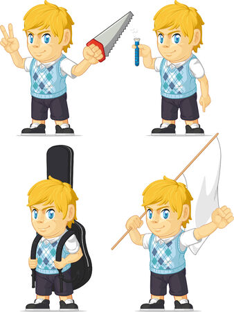 Blonde Rich Boy Customizable Mascot 7 Vector