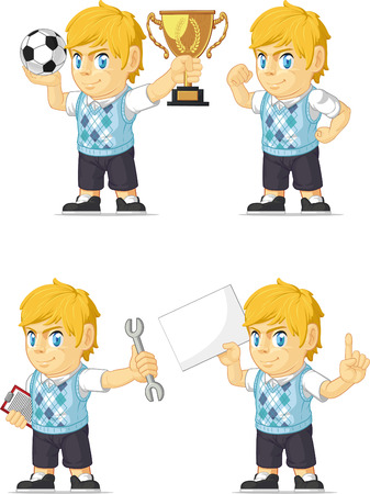 Blonde Rich Boy Customizable Mascot 18 Vector