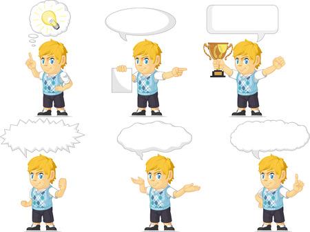 Blonde Rich Boy Customizable Mascot 21 Vector