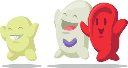 red blood cell: Caricatura de Células Sanguíneas - Los eritrocitos, leucocitos, trombocitos Vectores