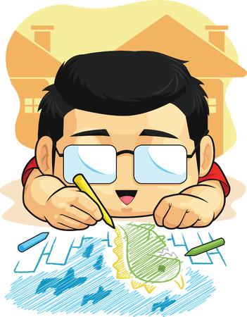 Cartoon of Boy Loves Drawing   Doodling