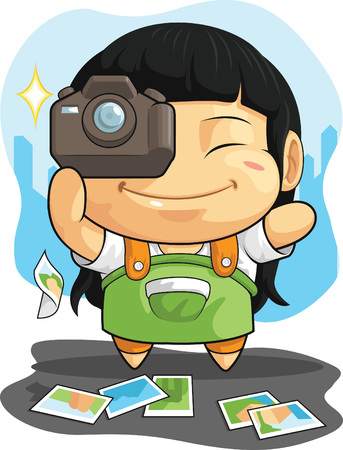 Cartoon of Girl Loves Photography Vector