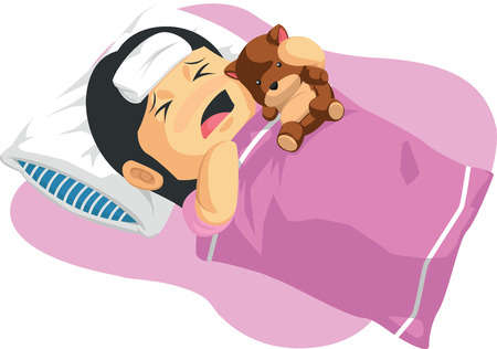 sick bed: Cartoon of Little Girl Having A Fever Illustration