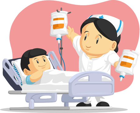 간호사 돕는 어린이 환자의 만화 일러스트