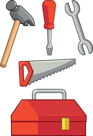 hand tool: Hand Tool - Hammer, Screwdriver, Wrench, Saw   Tool Box