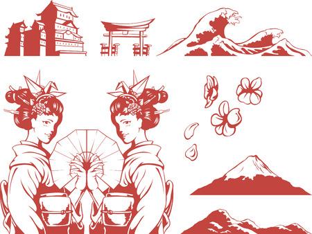 geisha: Japanese Set - Girl in Kimono, Sakura, Mountain, Castle