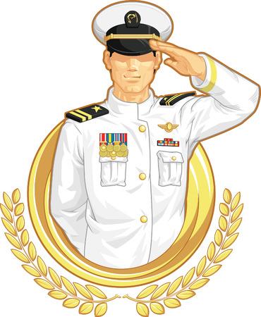 marinha: Diretor Militar em Salute Gesture Ilustra��o