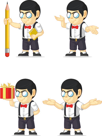 Nerd Boy Customizable Mascot Vector