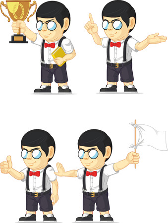 Nerd Boy Customizable Mascot 4 Vector